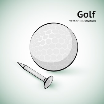 Balle de golf dessinée à la main. illustration