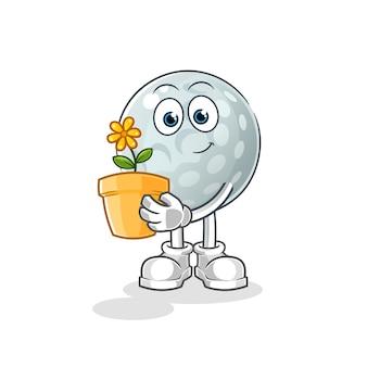 Balle de golf avec une illustration de pot de fleur. personnage