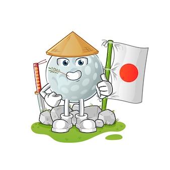 Balle de golf japonaise. personnage de dessin animé