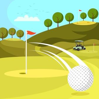 Balle de golf en passant par trou sur le parcours avec des drapeaux.