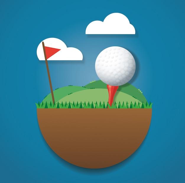 Balle de golf sur le sol et le drapeau rouge