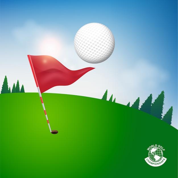 Balle de golf vector concept monde du tournoi de golf