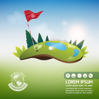 Balle de golf vector concept monde du tournoi de golf