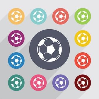 Balle, jeu d'icônes plat. boutons colorés ronds. vecteur
