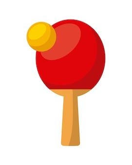 Balle de ping-pong et une raquette sur fond blanc. design coloré. illustration vectorielle