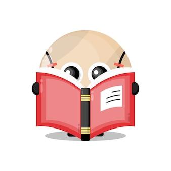 Balle de tennis lisant un livre mascotte de personnage mignon