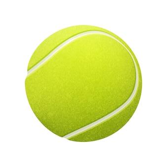 Balle de tennis unique sur fond blanc.