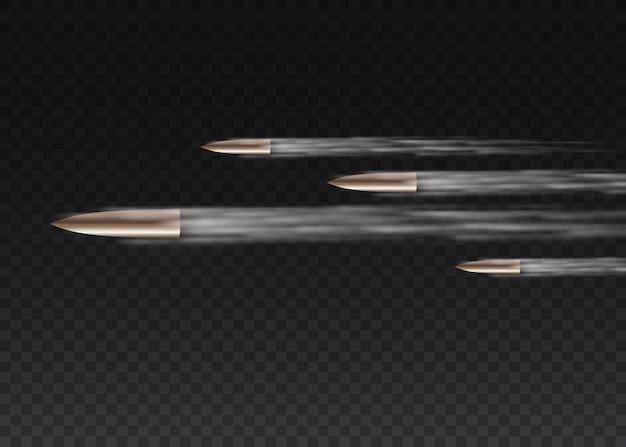 Balle volante réaliste en mouvement. coups de feu, balle en mouvement, traînées de fumée militaires. traces de fumée isolées sur fond transparent. sentiers de tir à l'arme de poing.