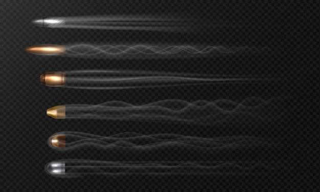 Balle volante réaliste. traces de fumée isolées