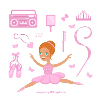 Ballerina avec des éléments roses