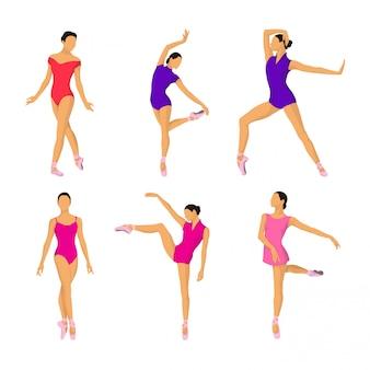 Ballerina pose vector collection