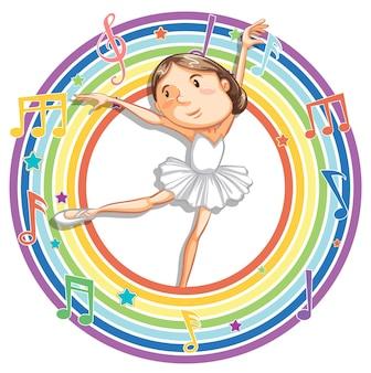 Ballerine dans un cadre rond arc-en-ciel avec symboles de mélodie