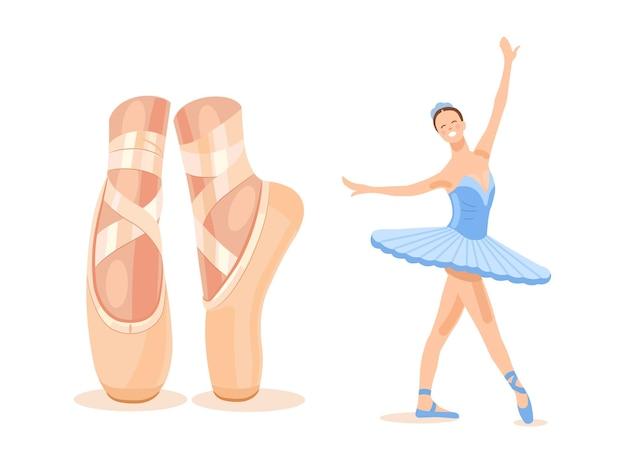 Ballerine dans un tutu de ballet bleu dans un beau gros plan de pose de jambe