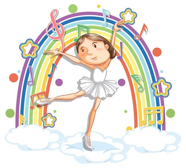 Ballerine dansant sur le nuage avec des symboles de mélodie sur arc-en-ciel