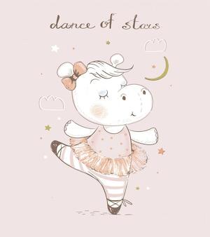 Ballerine hippopotame bébé dessin animé mignon illustration dessinée à la main peut être utilisé pour l'impression de t-shirt bébé