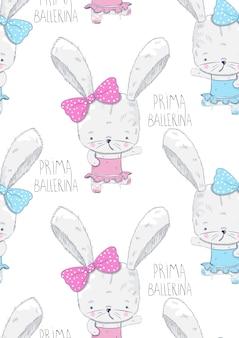 Ballerine de lapin mignon modèle amis cartoon dessiné à la main