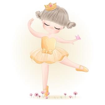 Ballerine mignonne petite fille avec illustration aquarelle