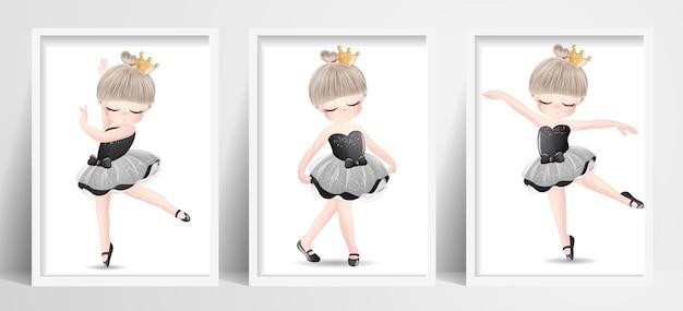 Ballerine mignonne petite fille sertie d'illustration aquarelle