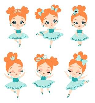 Ballerine plate style doodle avec ensemble de cheveux rouges