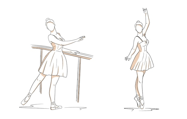 Ballerine En Robe Et Pointes. Style De Ligne. Danseur. Illustration Vectorielle Pour La Conception Et La Décoration. Vecteur Premium