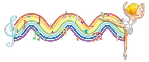 Ballerine avec symboles de mélodie sur la vague arc-en-ciel
