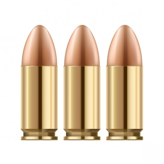 Les balles des armes à feu isolés sur blanc. surface en métal poli doré.
