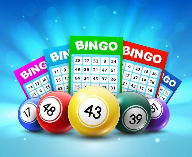 Balles et billets de loterie, cartes de loto de bingo 3d avec numéros