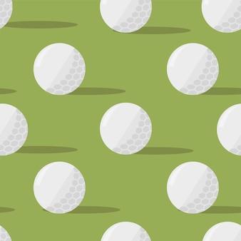 Balles de golf. modèle sans couture sur fond vert. illustration vectorielle au design plat simple
