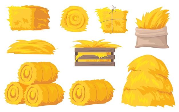 Balles et piles d'illustration de foin