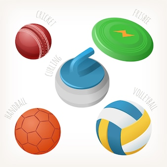 Balles pour les sports populaires avec des noms