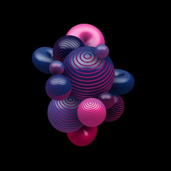 Balles réalistes décoratives abstraites de couleur dégradé bleu et rose volant au hasard sur fond noir.