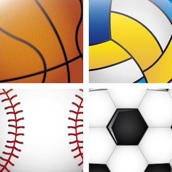 Balles de sport au cours de l'illustration vectorielle fond blanc