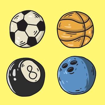 Balles de sport dessinées à la main