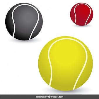 Les balles de tennis dans différentes couleurs