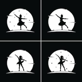 Ballet Pour Enfants Avec Fond De Lune Vecteur Premium
