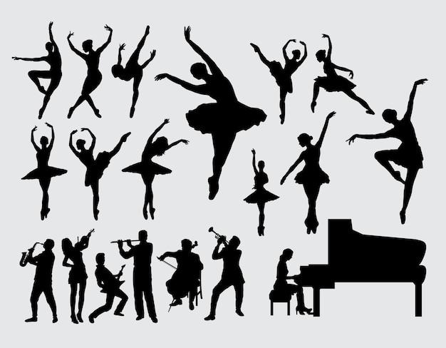 Ballet et silhouette de joueur de musique