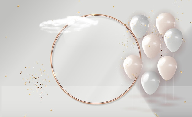 Ballon 3d réaliste avec cadre doré