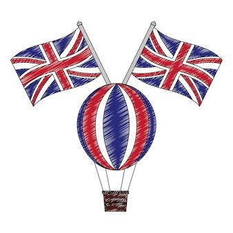 Ballon d'air chaud avec des drapeaux de la grande-bretagne