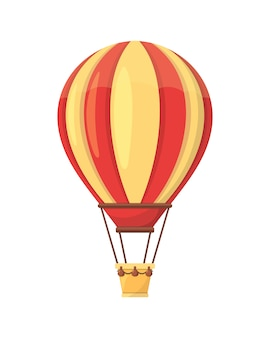 Ballon à air chaud plat, isolé sur blanc