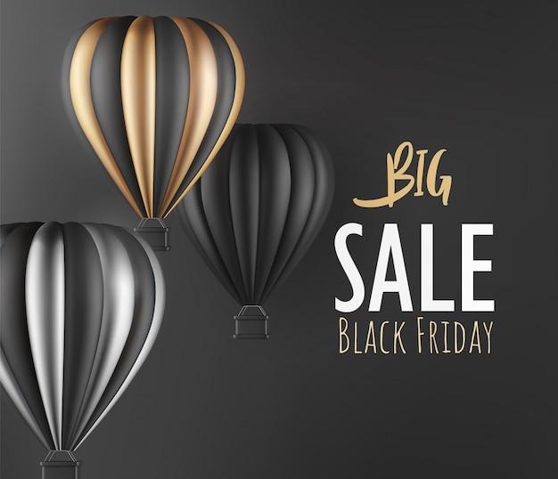 Ballon à air chaud réaliste finition or noir et argent pour le modèle de flyer ou de bannière vendredi noir illustration