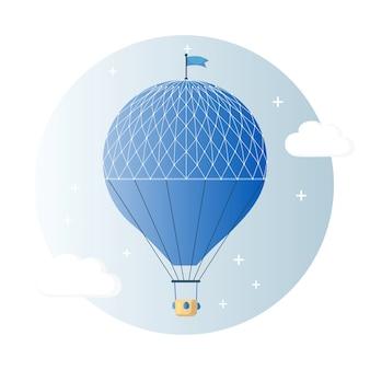 Ballon à air chaud rétro vintage avec panier dans le ciel