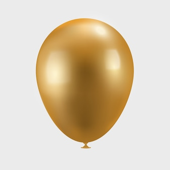 Ballon à air doré sur blanc