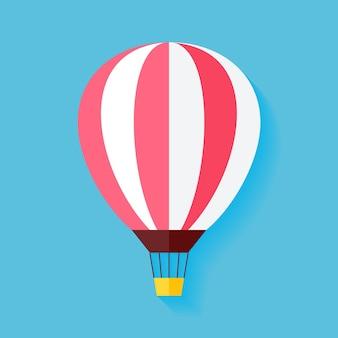 Ballon à air plat. illustration vectorielle de voyage coloré été transport aérien plat stylisé