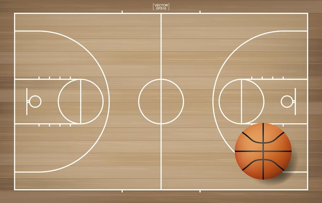 Ballon de basket-ball dans la zone du terrain de basket-ball. avec fond de motif en bois. illustration vectorielle.