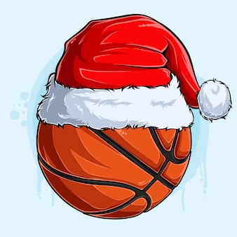 Ballon de basket-ball de noël drôle avec chapeau de père noël vacances de noël ballon de sport