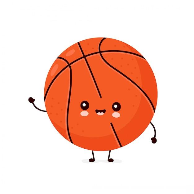 Ballon de basket-ball souriant heureux mignon