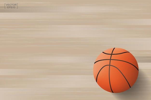 Ballon de basket sur fond en bois. illustration vectorielle.