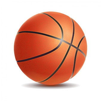 Ballon de basket réaliste de vecteur isolé sur fond blanc