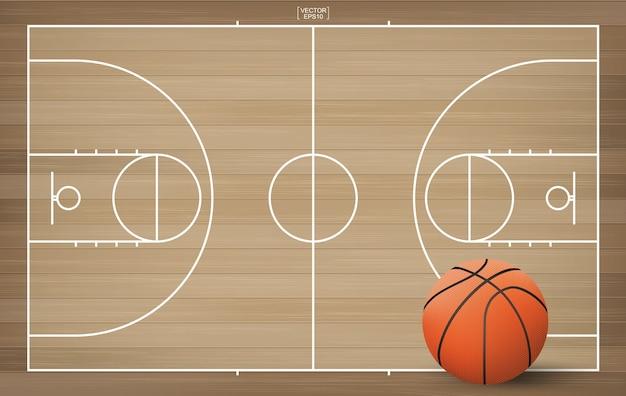 Ballon de basket sur le terrain de basket