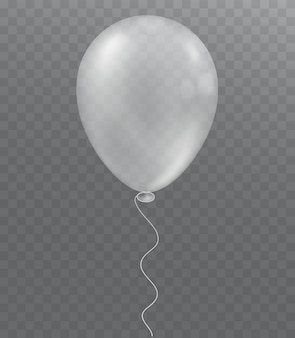 Ballon blanc sur fond transparent. décoration de fête.